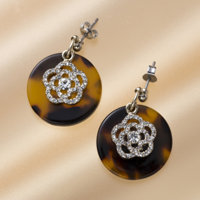 Tortoiseshell Camellia Earrings